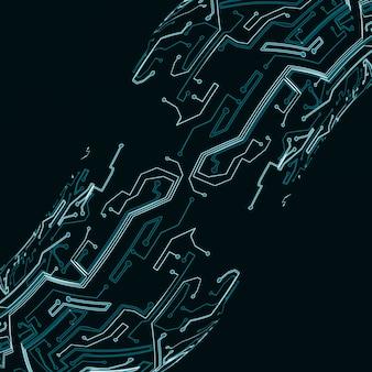 Fundo de placa de circuito, ilustração de tecnologia, conceito de arte