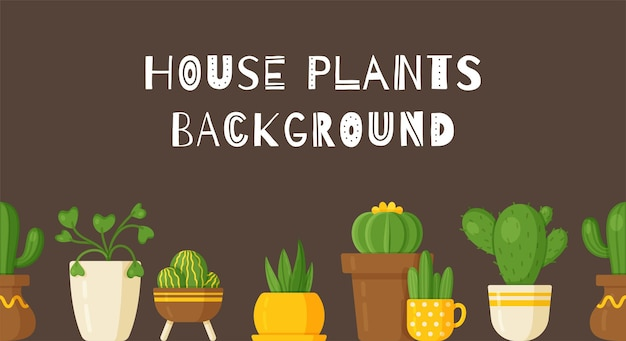Fundo de planta de ilustração vetorial. fundo bonito com plantas de interior em vasos. vasos de chão grandes e pequenos montados.
