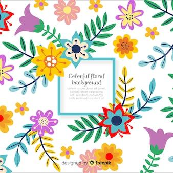 Fundo de plantas coloridas mão desenhada