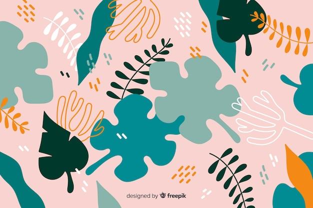Fundo de plantas tropicais abstratas de mão desenhada