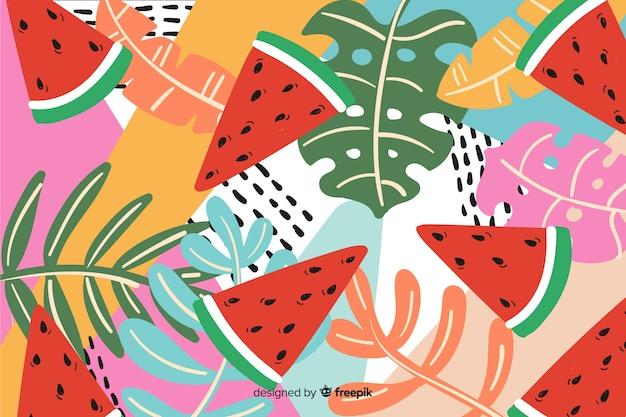 Fundo de plantas tropicais coloridas