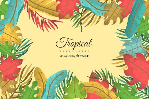 Fundo de plantas tropicais de mão desenhada