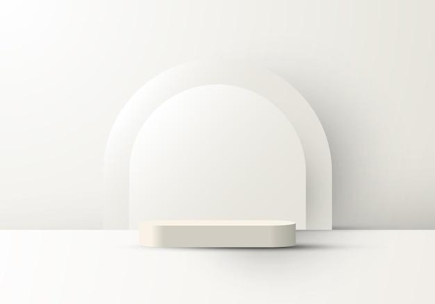 Fundo de plataforma geométrica realista 3d com suporte para mostrar produtos cosméticos cenário mínimo branco arredondado pano de fundo. ilustração vetorial
