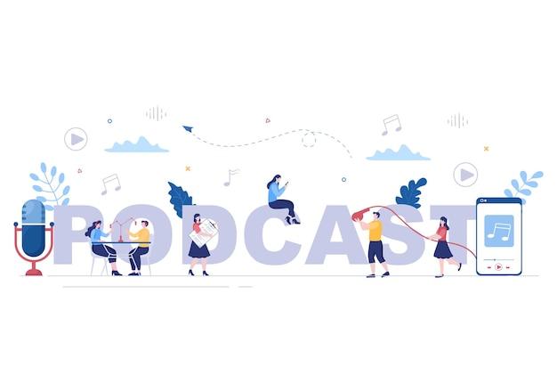 Fundo de podcast ilustração vetorial pessoas usando fone de ouvido para gravar áudio, apresentador entrevistando convidado ou programa on-line com equipamento de gravação de som e conceito de microfone