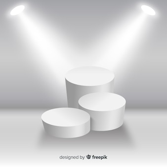 Fundo de pódio de palco no quarto branco com iluminação