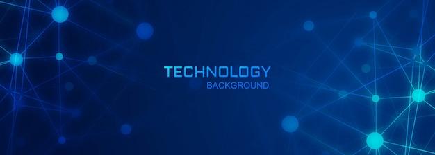 Fundo de polígono de tecnologia de banner digital de conexão