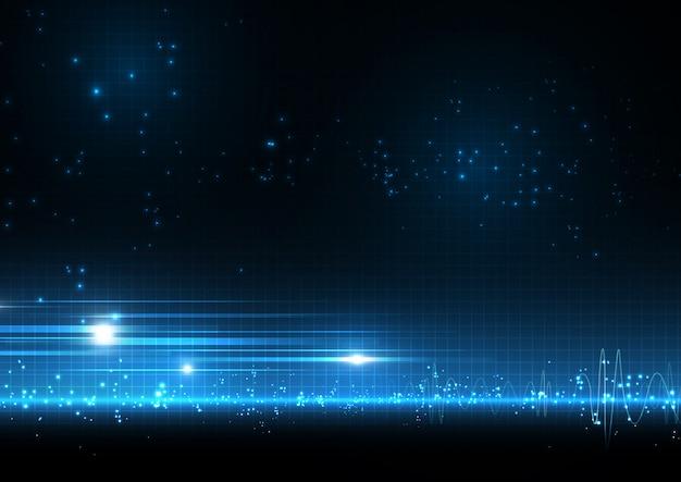 Fundo de ponto de luz azul com ondas sonoras