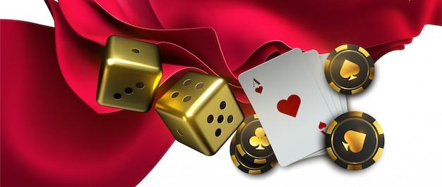 Fundo de pôquer em pano vermelho com ases e fichas de pôquer.