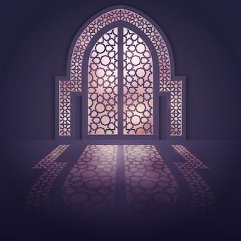 Fundo de porta de mesquita de fundo design islâmico
