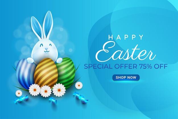 Fundo de pôster de páscoa feliz ou desenho de banner com ovos de páscoa coloful