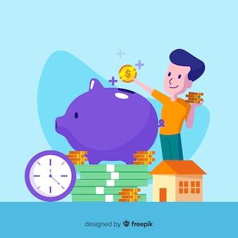 Fundo de poupança de dinheiro colorido