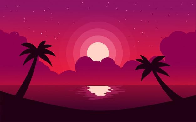 Fundo de praia à noite plana