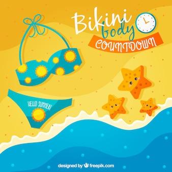 Fundo de praia com biquíni e outros elementos do verão