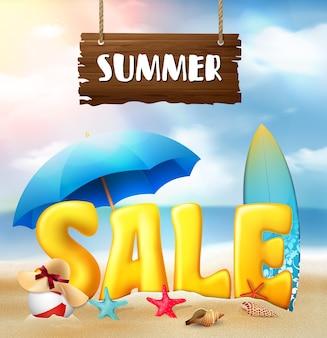 Fundo de praia de banner de venda de verão