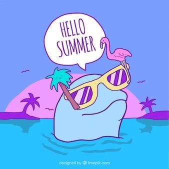 Fundo de praia de golfinhos com óculos de verão desenhados a mão