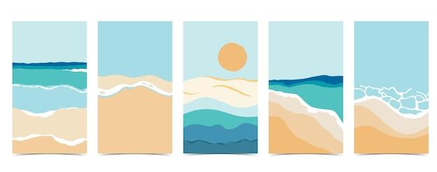 Fundo de praia para redes sociais. conjunto de história do instagram com céu, areia e sol