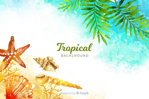 Fundo de praia tropical em aquarela