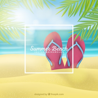 Fundo de praia tropical em estilo realista