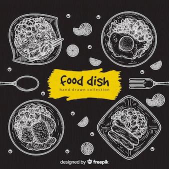Fundo de prato de comida de quadro-negro