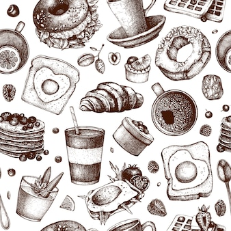 Fundo de pratos de café da manhã. ilustrações de mão desenhada de comida de manhã. menu de café da manhã e brunch. padrão sem emenda de alimentos e bebidas vintage mão desenhada. cenário de comida de estilo gravado.