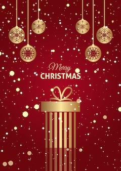 Fundo de presente de natal vermelho e dourado com enfeites pendurados