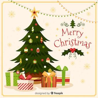 Fundo de presentes de árvore de natal