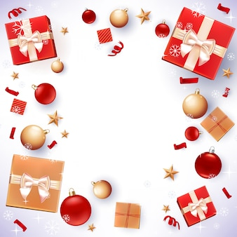 Fundo de presentes e decorações de natal