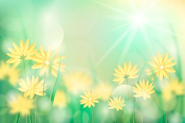 Fundo de primavera borrado realista de flores amarelas
