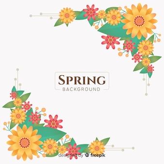 Fundo de primavera cantos florais plana