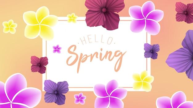 Fundo de primavera com 2 flor