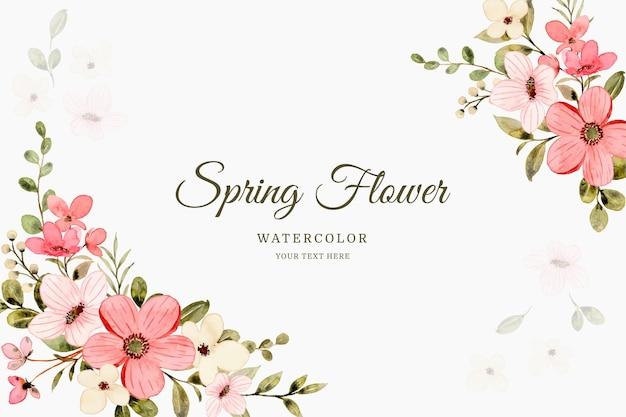 Fundo de primavera com aquarela de flor rosa branca