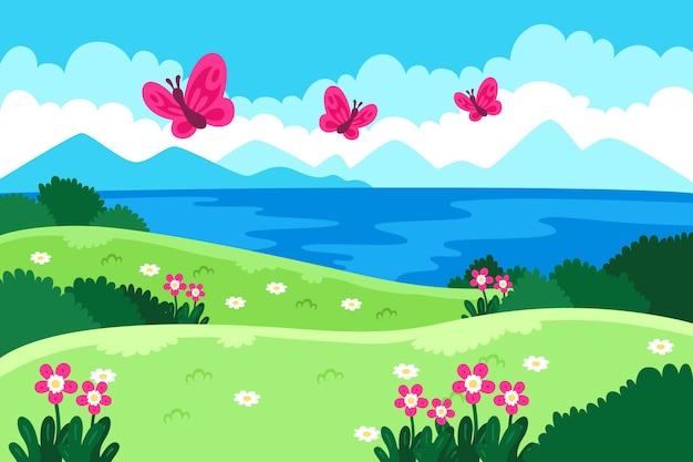 Fundo de primavera com borboletas