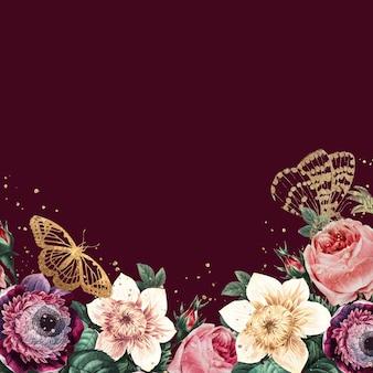 Fundo de primavera com borda de flor desabrochando