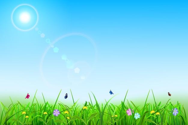 Fundo de primavera com céu, sol, grama, flores e borboletas