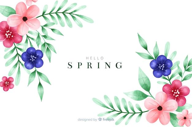 Fundo de primavera com flores em aquarela