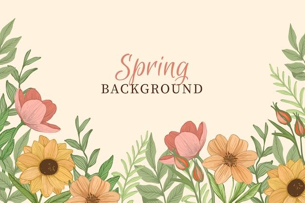 Fundo de primavera com flores vintage