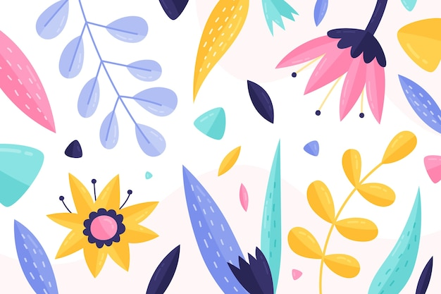 Fundo de primavera com folhas coloridas