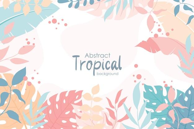 Fundo de primavera com folhas tropicais coloridas fofas, estilo simples e moderno