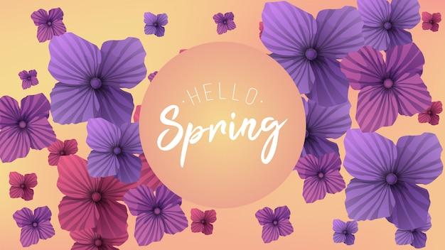 Fundo de primavera com fonte de escritos à mão