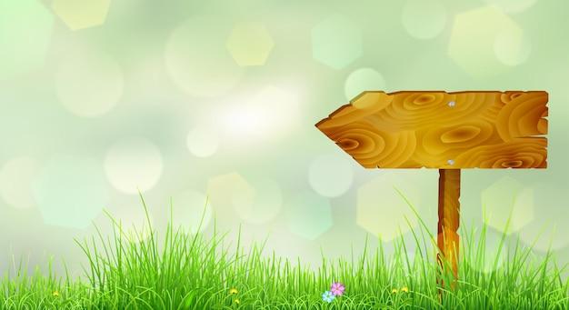 Fundo de primavera com grama verde, flores e ponteiro de madeira