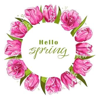 Fundo de primavera com ilustração de tulipas