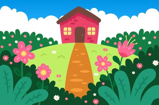 Fundo de primavera com linda casa
