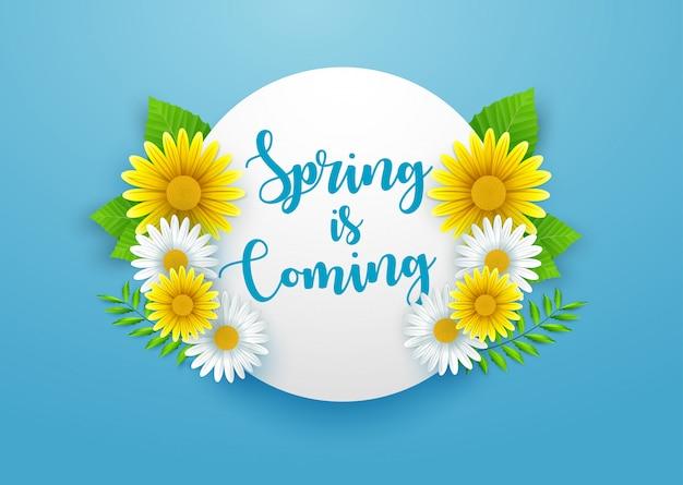 Fundo de primavera com lindas flores e moldura redonda