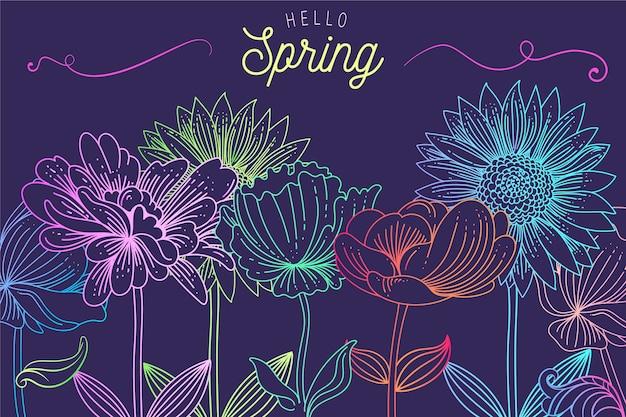 Fundo de primavera com lindas flores