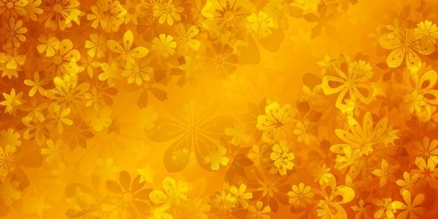 Fundo de primavera com várias flores em cores amarelas