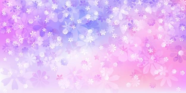 Fundo de primavera com várias flores em cores roxas
