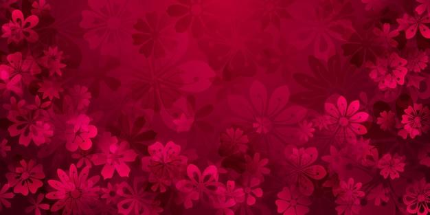 Fundo de primavera com várias flores em cores vermelhas