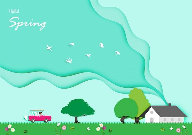 Fundo de primavera com vetor de desenho de arte de papel