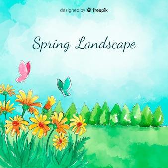 Fundo de primavera de campo aquarela