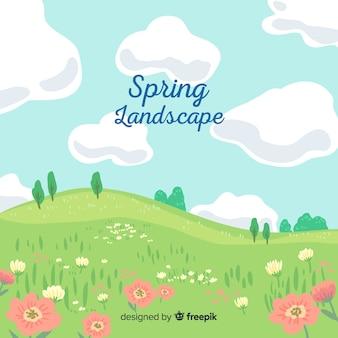 Fundo de primavera de campo ensolarado de mão desenhada